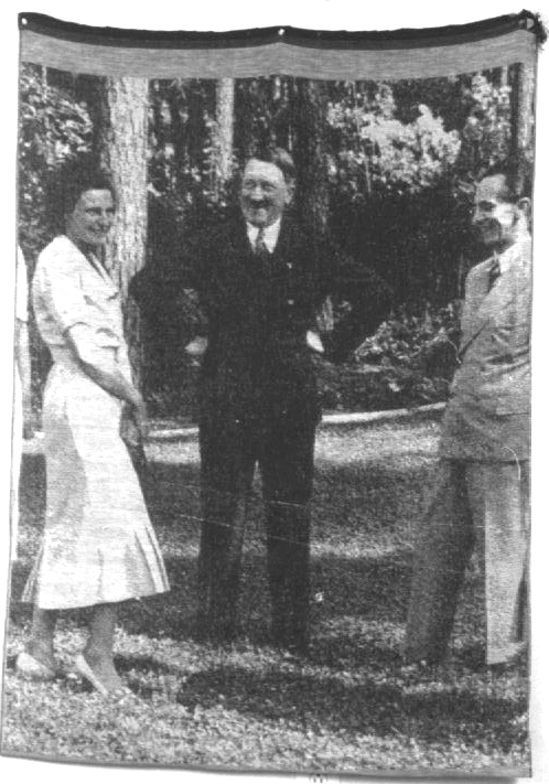 Digitally-woven tapestry of Eva Braun and Adolph Hitler