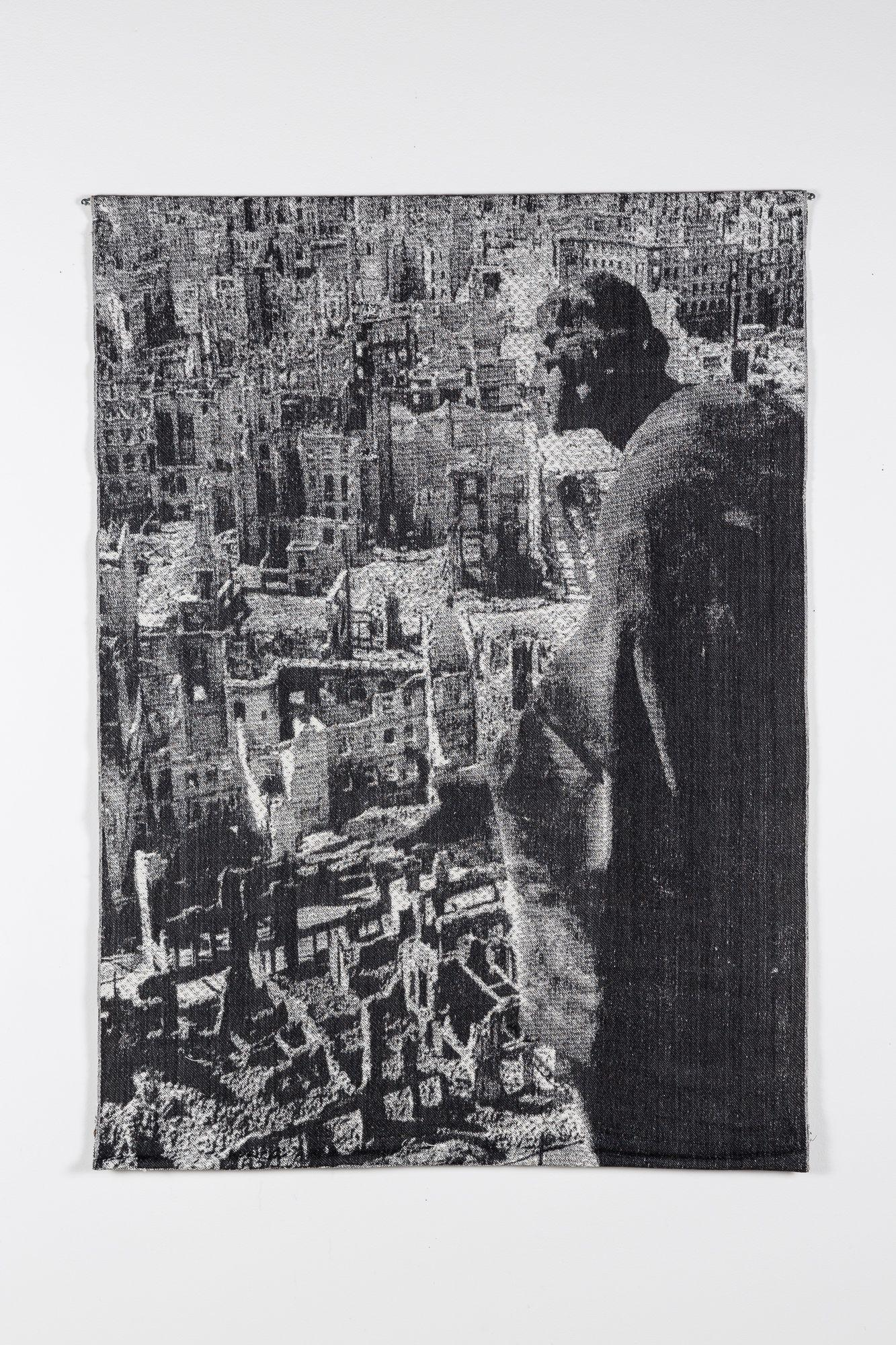 Digitally-woven tapestry depicting a view of the bombing of Dresden
