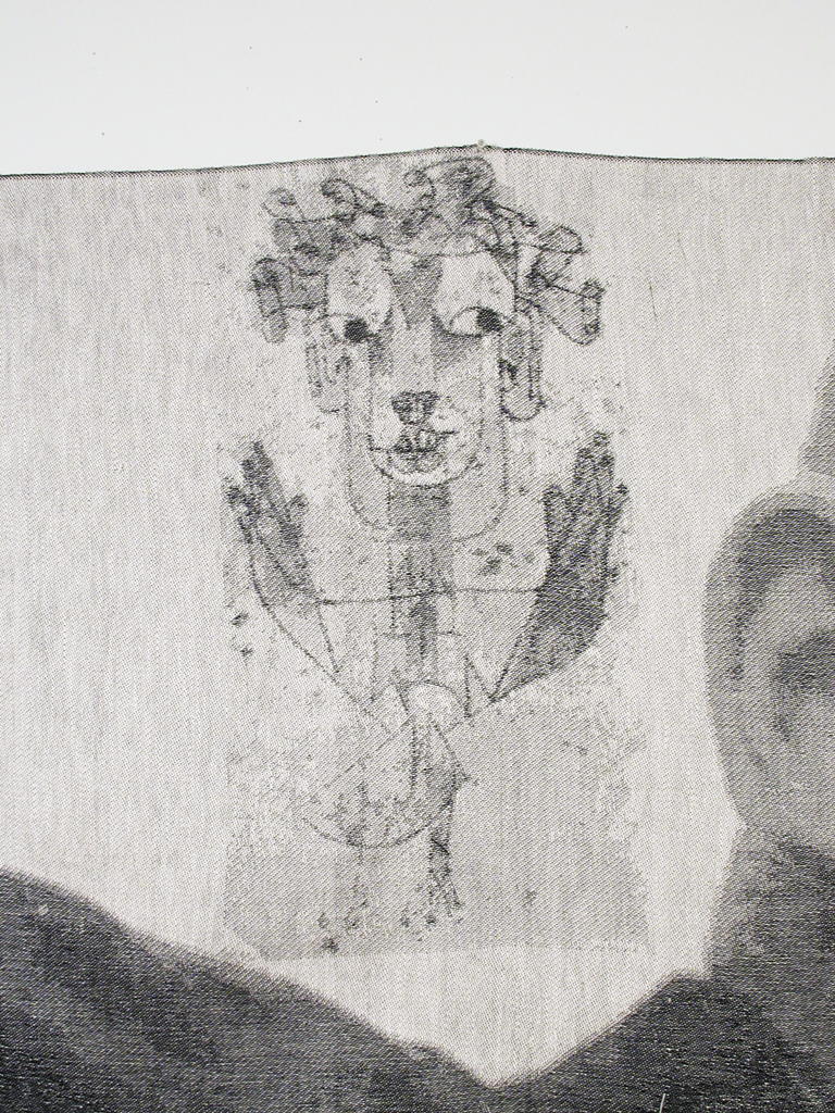 A detail of Walter, a digitally woven tapestry, depicting his drawing of the Angel of History in the top left corner.